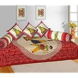 RajasthaniKart® Classic 6 Piece 144 TC Cotton Diwan Set, Red