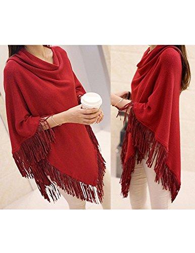 Sitengle Damen Poncho Capes Umhangtuch Langarmshirt Sweatshirt Pullover Oberteile Umhang Hohle Cloak Pashminas Top Rote