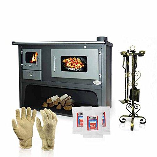 Zvezda fornello a legna, stufa a legna di cottura, modello classico maxi vr 10, potenza 17kw, boiler, forni, termocucina a legna idro, caldaia cucina a legna con forno