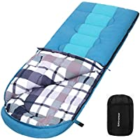 SONGMICS Wide Camping Sleeping Bag with Compression Sack, Ideal Temp 5-15°C, 3-4 Seasons, Easy to Carry, Lightweight, Compact, for Camping, Hiking, Travelling, 220 x 84 cm