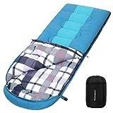 SONGMICS Schlafsack mit Kompressionsbeutel, breiter Deckenschlafsack, Komforttemperatur 5-15°C, 3-4 Jahreszeiten, leicht zu transportieren, Camping, Wandern, 220 x 84 cm, blaugrün-türkisblau GSB30BU