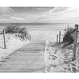 decomonkey Fototapete selbstklebend Strand Meer 343x256 cm XXL Selbstklebende Tapeten Wand Fototapeten Tapete Wandtapete klebend Klebefolie Schwarz weiß grau FOB0002c73XL