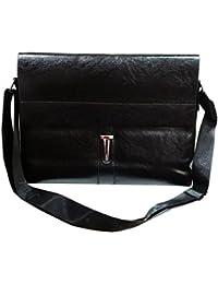 Briefcase Bag Black Leatherette Office Laptop Bag For Men Messenger Bag - Black