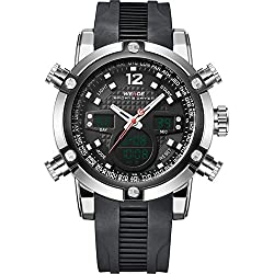 WEIDE Men's Sport Military Analogue Digital Quartz Rubber Strap Watch with Dual Time Auto Date (Black)