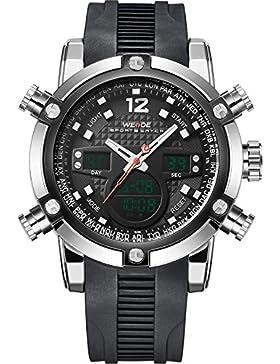 Weide Herren Sport Military Analog Digital Quartz Rubber Strap Uhr mit Dual Time Auto Datum (schwarz)