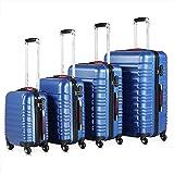 Monzana Baseline 4er Set Koffer | Blau S, M, L, XL | Gelgriffe Zahlenschloss | Reisekoffer Trolley Kofferset Rollkoffer
