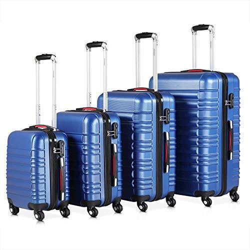 Monzana® Baseline 4er Set Koffer | Blau S, M, L, XL | Gelgriffe Zahlenschloss | Reisekoffer Trolley Kofferset Rollkoffer