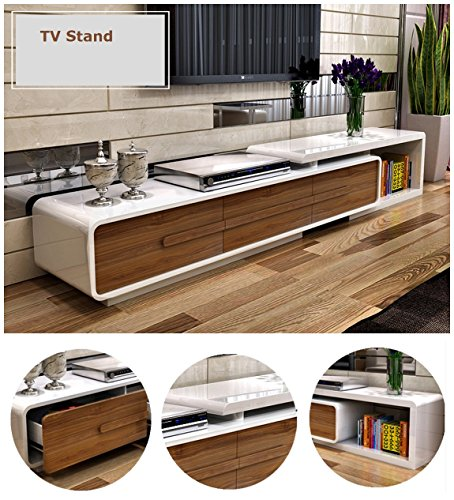 Verona Extendable High Gloss Coffee Table In White: OSPI White & Walnut High Gloss Extendable Living Room