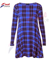 Think-Louder Womens Red Green Tartan Check Print Long Sleeve Swing Skater Dress plus size8-24