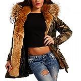 Young-Fashion Damen Camouflage Parka Winterjacke XXL Fellkapuze Kapuzen Jacke Military Army-Look Jacket, Farbe:Beige;Größe:38/40