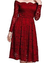 Meyison Damen Vintage 1950er Off Schulter Spitzenkleid Knielang Festlich Cocktailkleid Abendkleid Rockabilly Kleid Gr.34-38