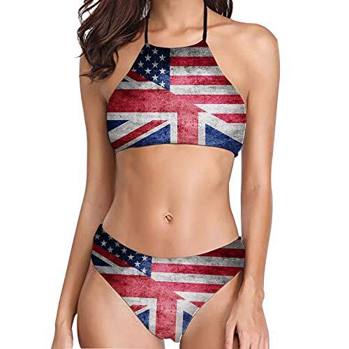 Foruidea Badeanzug mit Union-Jack-Motiv, zweiteilig, sexy Bikini-Set mit hohem Hals, Bandage, Badeanzug, Strandmode für Frauen - - X-Large -