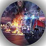 Fondant Tortenaufleger Tortenbild Geburtstag Feuerwehr T4
