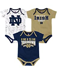 "Notre Dame Fighting Irish NCAA ""Playmaker"" Infant 3 Pack Bodysuit Creeper Set"