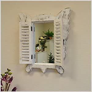 Wandspiegel mit Fensterladen PAPILLON aus Holz