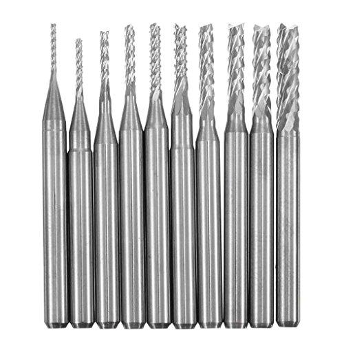 Level 10pcs / Set 0.8-3.175mm PCB Bohrersatz Engraving Cutter Rotary CNC-Fr?Ser Corn Fr?Sen TIPP Silber