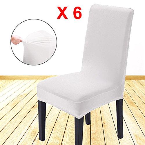 AllRight 6 x Stuhlhussen Stuhlbezug Stuhlüberzug Stretchhussen Hochzeit Mehrere Auswahl Weiß
