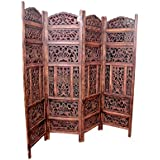 Tayyaba Enterprises 4 Panel Handcrafted Wooden Partition/Wooden Screen/Wooden Room Divider