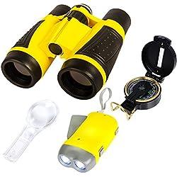 Abenteuer spielzeuge zur Natur-erforschung| 5 teiliges Abenteuer-Set für draußen | Kompass, Lupe, Taschenlampe, Rucksack & Fernglas für Kinder | Lehrreiche Spielzeuge für draußen, für Jungen & Mädchen
