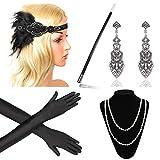 Beelittle 1920er Jahre Zubehör Set Flapper Stirnband, Halskette, Handschuhe, Zigarettenspitze Great Gatsby Zubehör für Frauen (F7)