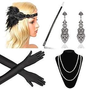 Beelittle 1920s Accesorios Set Diadema, Collar, Guantes, Porta-Cigarrillos Great Gatsby Disfraces Set para Mujeres (F7)