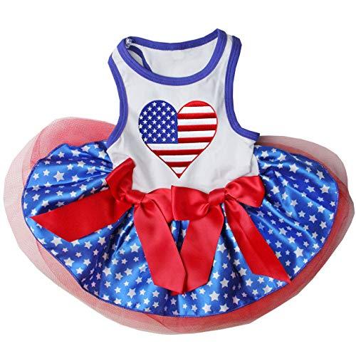 Kirei Sui Strass USA Flagge Herz Blau Stars Pets Tutu Kleid, S, Weiß