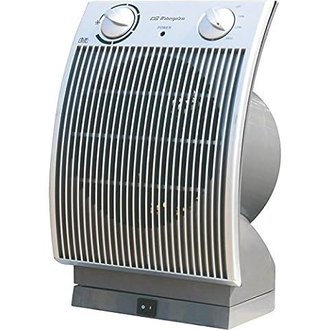 Orbegozo FH6035 - Termoventilador vertical, compacto, 2200 W, 2 posiciones, aire frío, termostato, oscilante, color plata