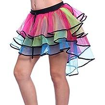 eb0fa2b60d7d6 Jupe Tulle Arc en Ciel Mini Jupon Tutu asymétrique Femme Robe Volant en  Mousseline de Soie