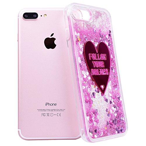 WE LOVE CASE iPhone 7 Plus Coque, Étui Transparente de Protection en Premium Hard Plastique Dur Housse Liquide et Clair, Bumper Bling Cas Briller Couverture avec Paillette Ecoulement Flottant Motif Br Coeur rose