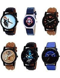 NIKOLA Contemporary 3D Design Mahadev Captain America Damru Black Blue And Brown Color 6 Watch Combo (B22-B43-...