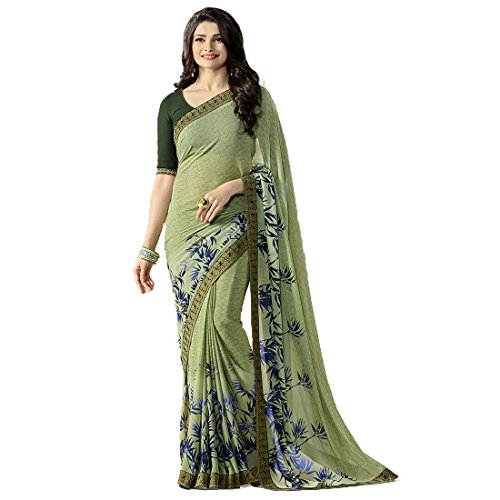 Crazy Women's Party Wear Dark Green Georgette Sarees With Blouse Piece