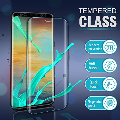 Aonsen Protector de Pantalla Galaxy S8  [2 Pack] 3D Curvado Full Coverage HD Cristal Templado Protector de Pantalla  9H Anti rasguños Dureza para Samsung Galaxy S8   Transparente