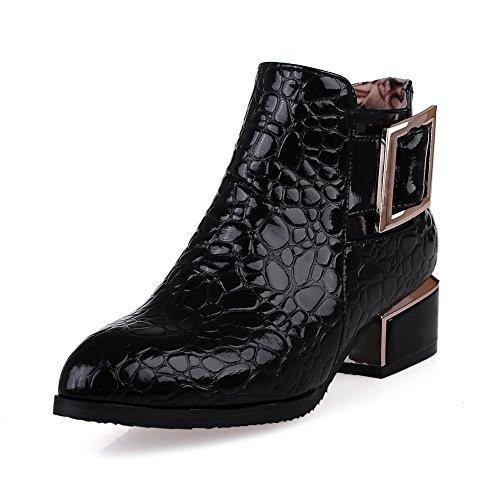 A&N ,  Damen Durchgängies Plateau Sandalen mit Keilabsatz , schwarz - schwarz - Größe: 37
