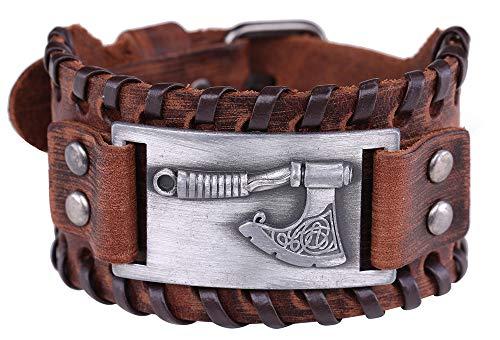 VASSAGO Pulsera de Cuero marrón con Amuleto nórdico y Mito eslavo de perun irlandés para Hombre y Mujer