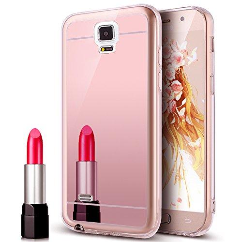Kompatibel mit Galaxy Note 4 Hülle,Galaxy Note 4 Schutzhülle,Glänzend Kristall Überzug Spiegel TPU Silikon Handy Hülle Tasche Silikon Crystal Durchsichtig Bumper Schutzhülle,Rose Gold