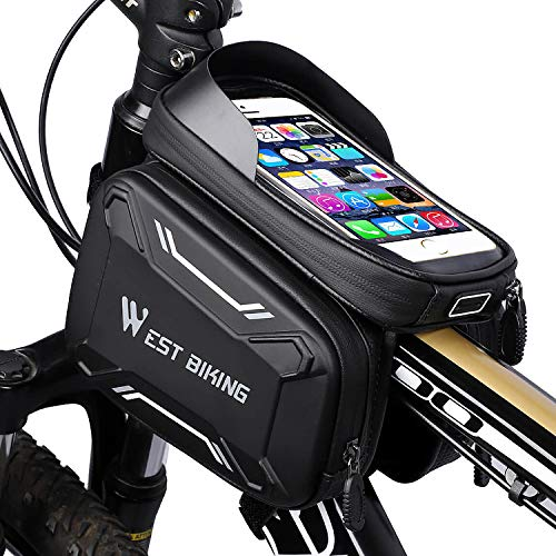 """WESTGIRL Fahrrad Rahmentasche wasserdicht - Fahrradtasche Oberrohrtasche Handy Tasche geeignet für 6,2\"""" Smartphone, Sensitive Touch-Screen, große Kapazitätstasche, vollständig wasserabweisendes"""
