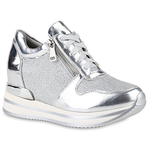 Damen Sneakers | Sportschuhe Lack Glitzer | Sneaker Wedges Metallic Pailetten | Plateauschuhe Kroko Camouflage | Keilabsatz Schuhe Silber Reißverschluss