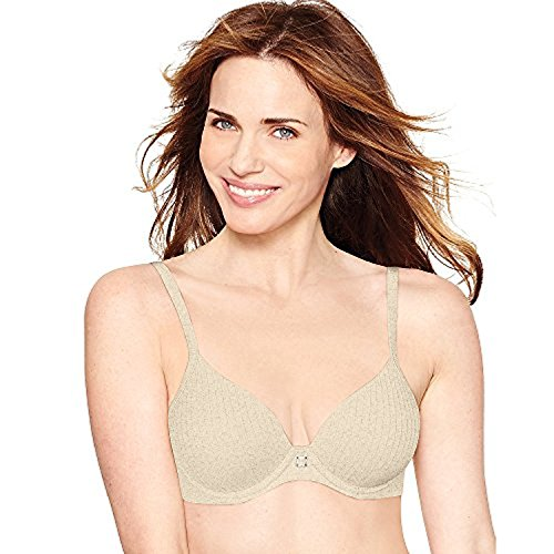 Hanes Ultimate ComfortBlend T-Shirt Natural Lift Underwire Bra_Oatmeal Stripe Htr_34B