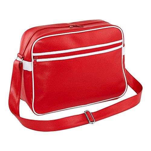 Bagbase Ursprüngliche Retro Messenger Classic Rosso / Bianco