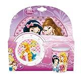Stor 36290 - Set de melamina sin orla, 3 piezas, plato, cuenco y vaso, diseño My Princess Fairytale
