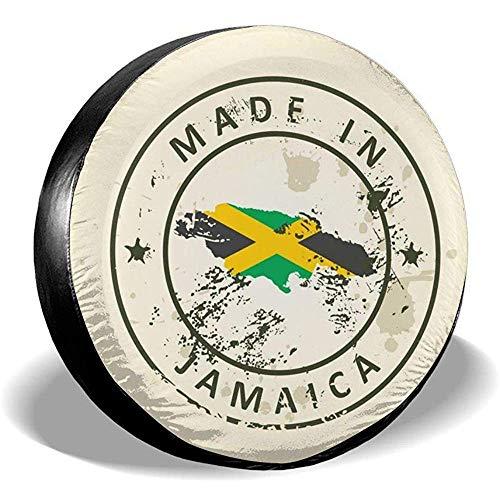 Drew Tours Stamp with Map Flag Jamaika Rad Reifenschutzhülle UV-Schutz Reserveradschutzhülle Reifenschutz Staubdicht für SUV Trucks 16inch