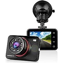 SUPEREYE Dashcam Cámara de Coche Full HD 1080P Cámara para Coche Grande Ángulo de 170° Videocámara Visión Nocturna DVR G-Sensor, WDR, Ciclo de Grabación, Detección de Movimiento