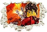 Unified Distribution Lego - Ninjago - Kai - Be Fire - Wandtattoo mit 3D Effekt, Aufkleber für Wände und Türen Größe: 92x61 cm, Stil: Durchbruch