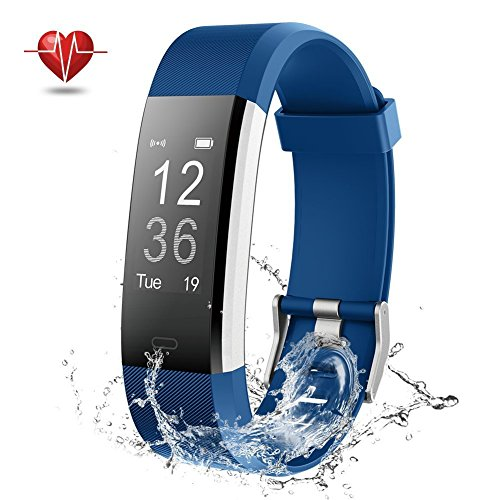 Activity Tracker, Slim Fitness Tracker with Heart Rate Monitor, Step Counter Smart Watch with Sleep Monitor, Call/SMS Reminder Bluetooth Pedometer Watch for iPhone or Android Phone – Blue