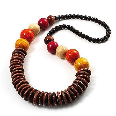 Long Collier Grosses Perles Bois Multicolores (Marron, Jaune, Orange & Rouge) - Longueur 76cm