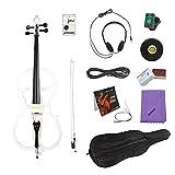4/4 in Voller Größe Massivholz Elektrische Cello Violoncello Ahornholz Körper Ebenholz Pearl Weiß im Stil1 mit Tuner Kopfhörer Gig Tasche