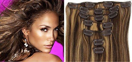 50,8 cm droit clip dans remy extensions de cheveux humains # 27/613 blond miel/blond clair doré 8 100 g