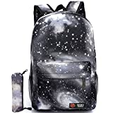 G-i-Mall Unisex Galaxy School Backpack Canvas Backpack Laptop Book Bag Galaxy Leisure School Rucksack Satchel Hiking Bag (Black-2)