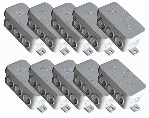 f-tronic Feuchtraum-Abzweigkasten IP54, 75x37x40mm, grau, E126, Inhalt: 10, Stück