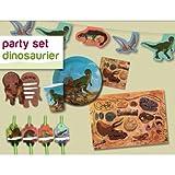 *** Dinosaurier Partyset *** für 8 Kinder, Einladungen, Platzsets, Wimpelkette, Trinkhalme, Becher, Teller, Servietten,
